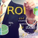 Businessman drawing ROI (return on investment)